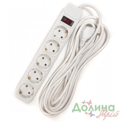 97614b4996b7 Сетевой фильтр PowerPlant с заземлением и выкл., 5 скошенных гнёзд, 5 м