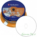 Диск DVD-R 25 шт Cake box VERBATIM Printable 4.7 GB/120 min 16x (43538)