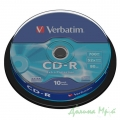 Диск (CD-R) VERBATIM, 700Mb/80min/52x, (Cake box, 10 шт.)